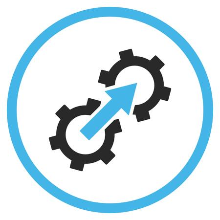 Icona ingranaggio integrazione vettoriale. Lo stile è bicolore piatto arrotondato simbolo iconico, icona ingranaggio integrazione è disegnato con i colori blu e grigio su uno sfondo bianco.