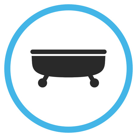 bathtub: Bathtub vector icon. Style is bicolor flat rounded iconic symbol, Bathtub icon is drawn with blue and gray colors on a white background.