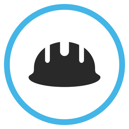hardhat icon: Builder Hardhat vector icon. Style is bicolor flat rounded iconic symbol, builder hardhat icon is drawn with blue and gray colors on a white background.