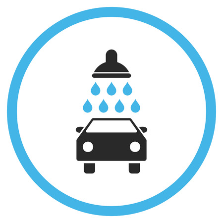 carwash: Car Shower vector icon. Style is bicolor flat rounded iconic symbol, car shower icon is drawn with blue and gray colors on a white background. Illustration