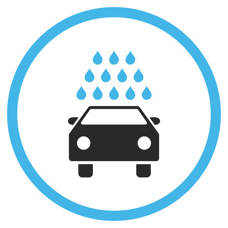 carwash: Car Wash vector icon. Style is bicolor flat rounded iconic symbol, car wash icon is drawn with blue and gray colors on a white background. Illustration