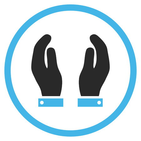 regard: Care Hands vector icon. Style is bicolor flat rounded iconic symbol, care hands icon is drawn with blue and gray colors on a white background.