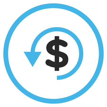 moneyback: Chargeback vector icon. Style is bicolor flat rounded iconic symbol, chargeback icon is drawn with blue and gray colors on a white background.
