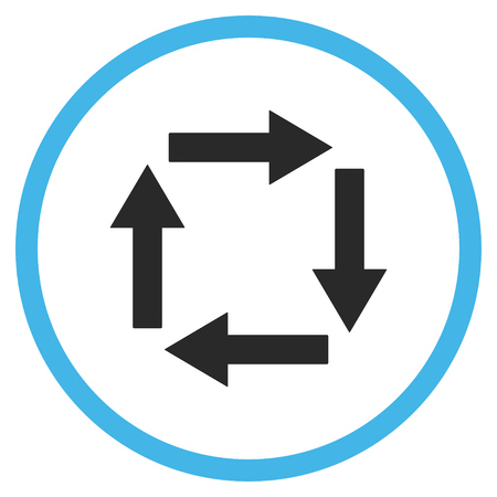 circulation: Circulation Arrows vector icon. Style is bicolor flat rounded iconic symbol, circulation arrows icon is drawn with blue and gray colors on a white background.