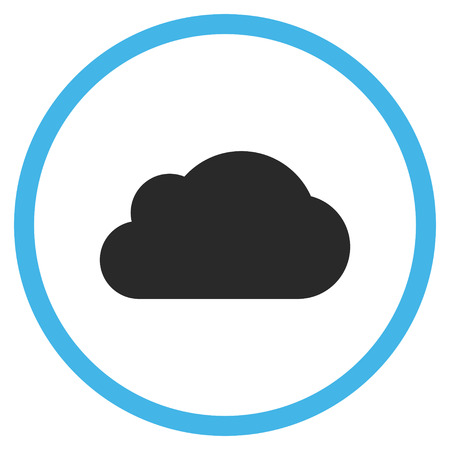 saas: Cloud vector icon. Style is bicolor flat rounded iconic symbol, cloud icon is drawn with blue and gray colors on a white background. Illustration