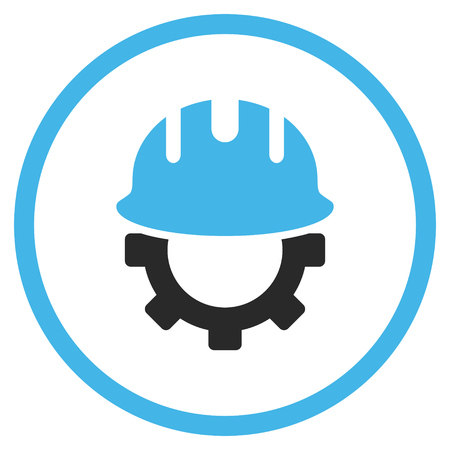 hardhat icon: Development Hardhat vector icon. Style is bicolor flat rounded iconic symbol, development hardhat icon is drawn with blue and gray colors on a white background.