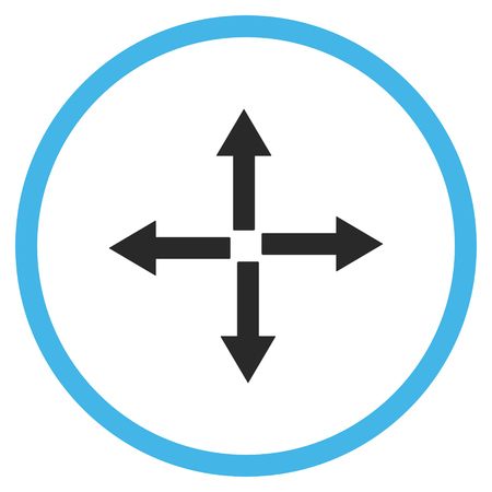 fullscreen: Expand Arrows vector icon. Style is bicolor flat rounded iconic symbol, expand arrows icon is drawn with blue and gray colors on a white background.