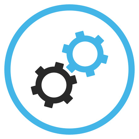 Gears vector icon. Style is bicolor flat rounded iconic symbol, gears icon is drawn with blue and gray colors on a white background. Stock Illustratie