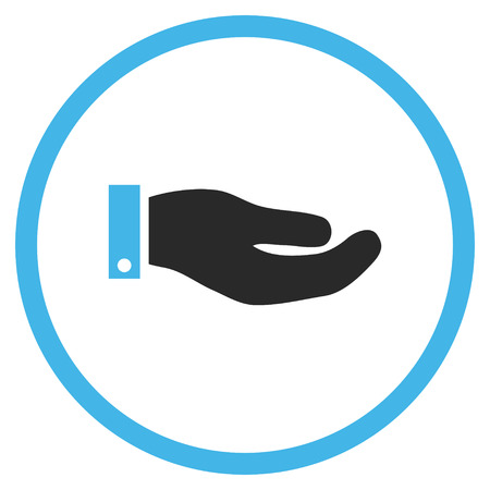 petition: Hand vector icon. Style is bicolor flat rounded iconic symbol, hand icon is drawn with blue and gray colors on a white background.