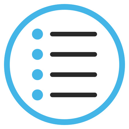 numerate: Items vector icon. Style is bicolor flat rounded iconic symbol, items icon is drawn with blue and gray colors on a white background. Illustration