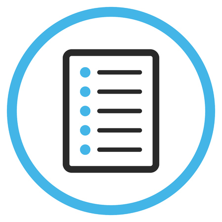 List Page vector icon. Style is bicolor flat rounded iconic symbol, list page icon is drawn with blue and gray colors on a white background.