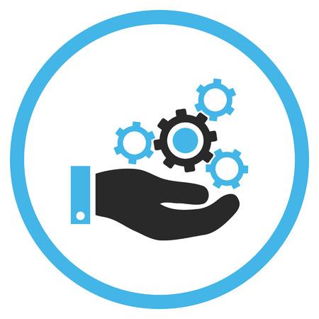 力学のサービスのベクトルのアイコン。スタイルはバイカラー フラット丸みを帯びた象徴的なシンボル、メカニック サービス アイコンは白地に青