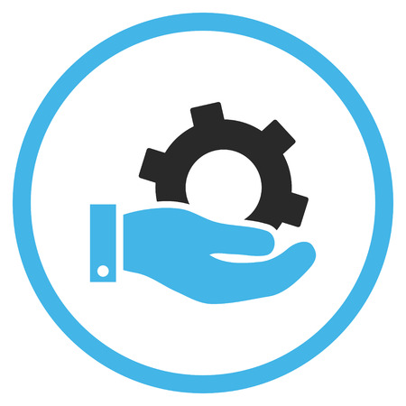 circle icon: Service vector icon. Style is bicolor flat rounded iconic symbol, service icon is drawn with blue and gray colors on a white background.