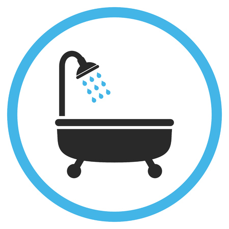 shower bath: Shower Bath vector icon. Style is bicolor flat rounded iconic symbol, shower bath icon is drawn with blue and gray colors on a white background.