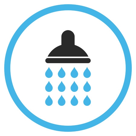 disinfectant: Shower vector icon. Style is bicolor flat rounded iconic symbol, shower icon is drawn with blue and gray colors on a white background. Illustration