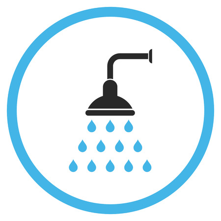sterilize: Shower vector icon. Style is bicolor flat rounded iconic symbol, shower icon is drawn with blue and gray colors on a white background. Illustration