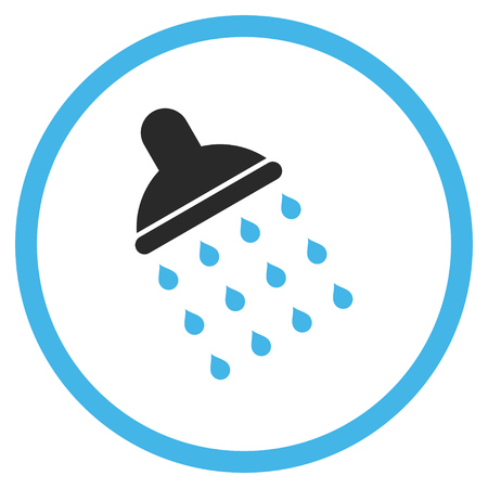 antiseptic: Shower vector icon. Style is bicolor flat rounded iconic symbol, shower icon is drawn with blue and gray colors on a white background. Illustration