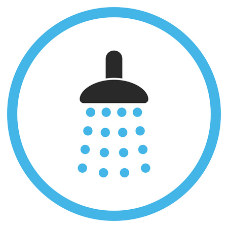 disinfect: Shower vector icon. Style is bicolor flat rounded iconic symbol, shower icon is drawn with blue and gray colors on a white background. Illustration