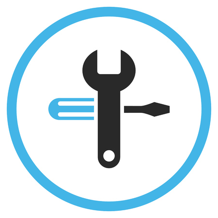 config: Tuning vector icon. Style is bicolor flat rounded iconic symbol, tuning icon is drawn with blue and gray colors on a white background. Illustration