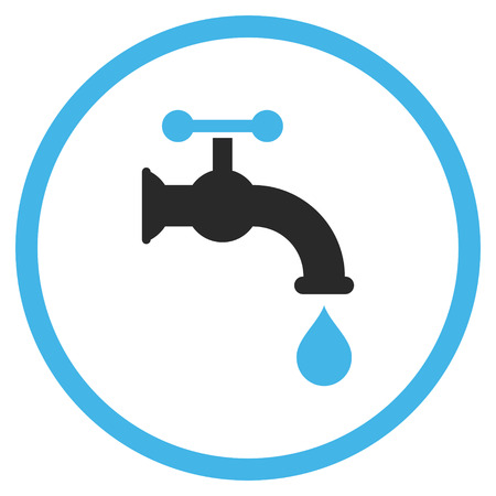 aqueduct: Water Tap vector icon. Style is bicolor flat rounded iconic symbol, water tap icon is drawn with blue and gray colors on a white background.