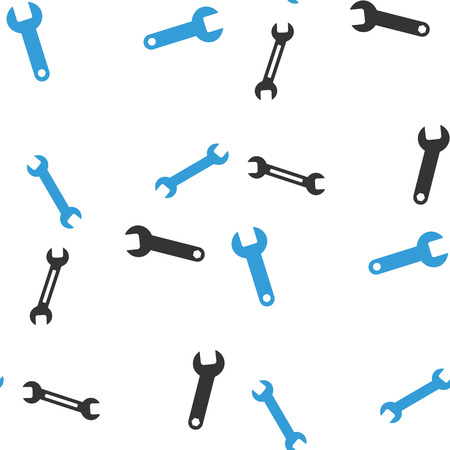 Wrench vector repeatable pattern. Style is flat wrench symbols on a white background. Illustration