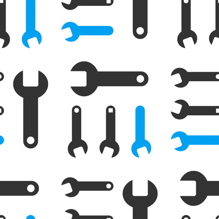 hardware configuration: Wrench vector repeatable pattern. Style is flat wrench symbols on a white background. Illustration