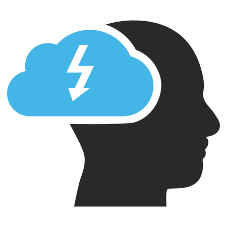 headaches: Brainstorming vector icon. Picture style is bicolor flat brainstorming icon drawn with blue and gray colors on a white background.