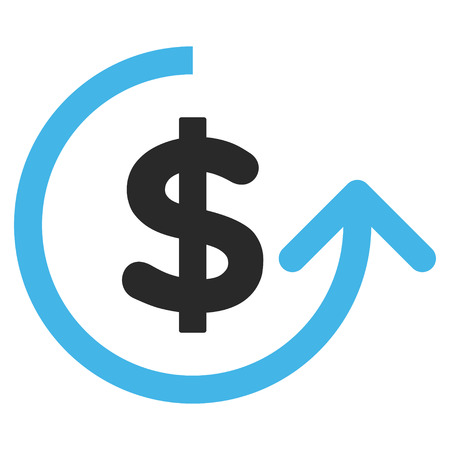 moneyback: Chargeback vector icon. Picture style is bicolor flat chargeback icon drawn with blue and gray colors on a white background.