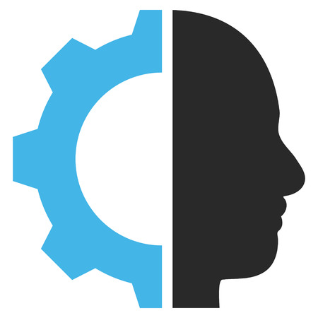 config: Cyborg Gear vector icon. Picture style is bicolor flat cyborg gear icon drawn with blue and gray colors on a white background.