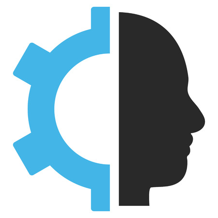 robo: Cyborg Gear vector icon. Picture style is bicolor flat cyborg gear icon drawn with blue and gray colors on a white background.