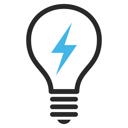 electric bulb: Electrical Bulb vector icon. Picture style is bicolor flat electric bulb icon drawn with blue and gray colors on a white background.