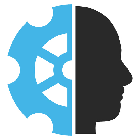 intellect: Intellect vector icon. Picture style is bicolor flat intellect icon drawn with blue and gray colors on a white background. Illustration
