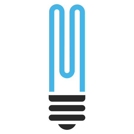 Fluorescent Bulb vector icon. Picture style is bicolor flat fluorescent bulb icon drawn with blue and gray colors on a white background. Illustration