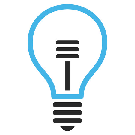 gray bulb: Lamp Bulb vector icon. Picture style is bicolor flat lamp bulb icon drawn with blue and gray colors on a white background. Illustration