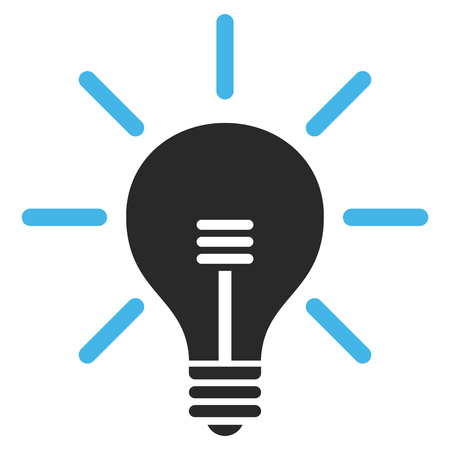 gray bulb: Light Bulb vector icon. Picture style is bicolor flat light bulb icon drawn with blue and gray colors on a white background. Illustration