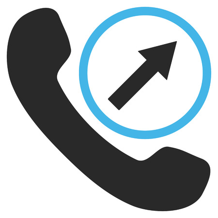 phone and call: Outgoing Call vector icon. Picture style is bicolor flat outgoing call icon drawn with blue and gray colors on a white background.