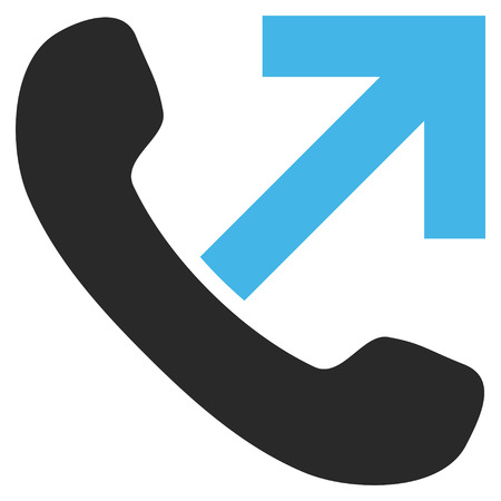outgoing: Outgoing Call vector icon. Picture style is bicolor flat outgoing call icon drawn with blue and gray colors on a white background.
