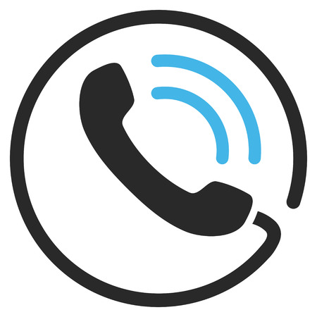 telephone call: Telephone Call vector icon. Picture style is bicolor flat phone call icon drawn with blue and gray colors on a white background. Illustration