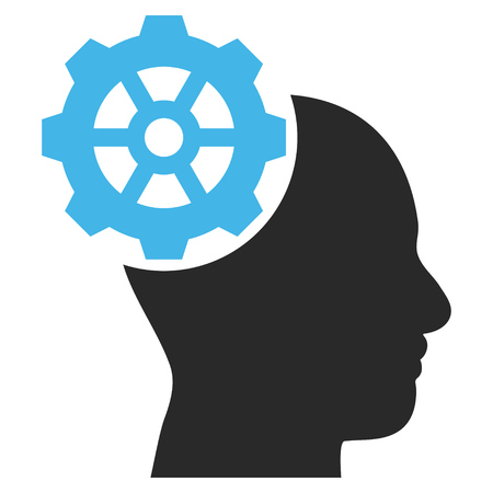 head gear: Head Gear vector icon. Picture style is bicolor flat head gear icon drawn with blue and gray colors on a white background.
