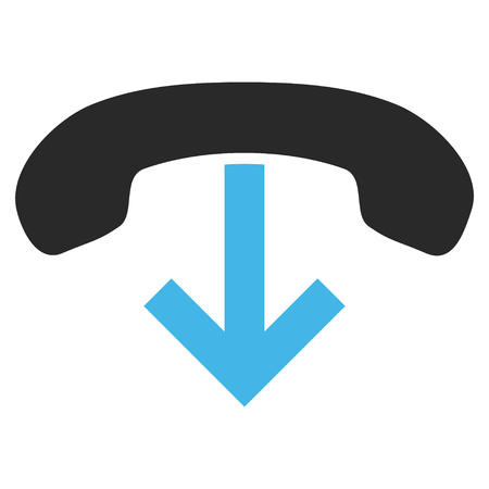 hang up: Telephone Hang Up vector icon. Picture style is bicolor flat phone hang up icon drawn with blue and gray colors on a white background.
