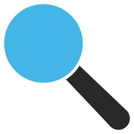 look up: Look Tool vector icon. Picture style is bicolor flat search tool icon drawn with blue and gray colors on a white background.