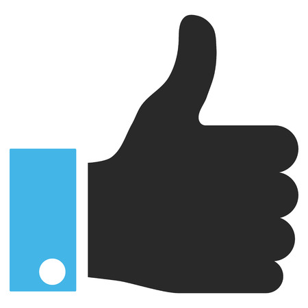 thumb up icon: Thumb Up vector icon. Picture style is bicolor flat thumb up icon drawn with blue and gray colors on a white background. Illustration
