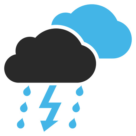 voltage gray: Thunderstorm vector icon. Picture style is bicolor flat thunderstorm icon drawn with blue and gray colors on a white background.