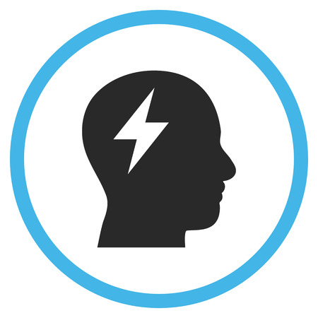 invent clever: Brainstorming vector bicolor icon. Image style is a flat icon symbol inside a circle, blue and gray colors, white background. Illustration