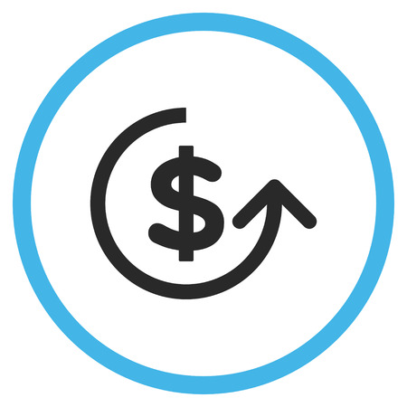 moneyback: Chargeback vector bicolor icon. Image style is a flat icon symbol inside a circle, blue and gray colors, white background. Illustration