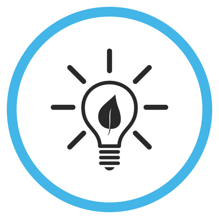 gray bulb: Eco Light Bulb vector bicolor icon. Image style is a flat icon symbol inside a circle, blue and gray colors, white background.