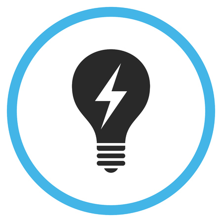 electric bulb: Electric Bulb vector bicolor icon. Image style is a flat icon symbol inside a circle, blue and gray colors, white background.