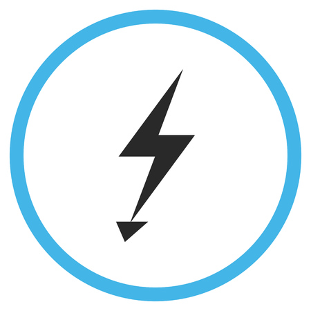 voltage gray: Electric Strike vector bicolor icon. Image style is a flat icon symbol inside a circle, blue and gray colors, white background.