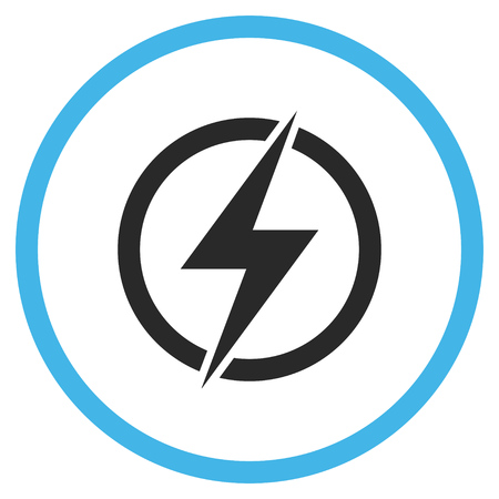 voltage gray: Electricity vector bicolor icon. Image style is a flat icon symbol inside a circle, blue and gray colors, white background. Illustration
