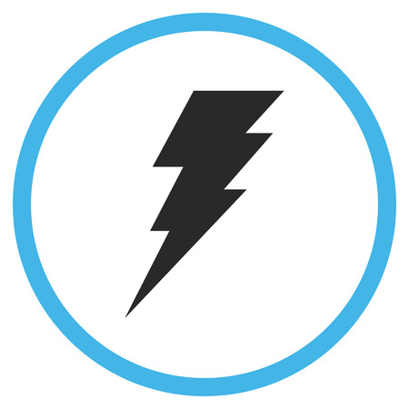execute: Execute vector bicolor icon. Image style is a flat icon symbol inside a circle, blue and gray colors, white background.
